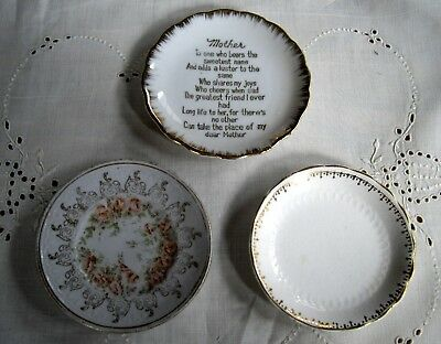 "Vintage Porcelain  Butter Pat Plates 3 1/4"" & 3 1/2""   ~ Set of 3 ~"