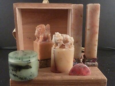 Chinese Soapstone Seals and a Jade Seal Paste Box in a Wooden Box