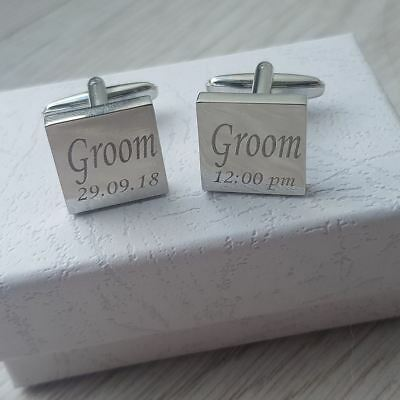 SILVER WEDDING CUFFLINKS PERSONALISED WITH YOUR DATE & TIME OF CEREMONY mo1ad&t