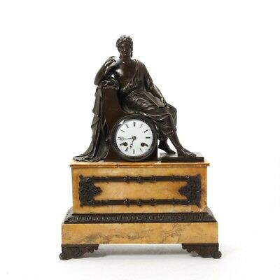 A French Figural Patinated Bronze And Sienna Marble Mantel Clock 19th Century
