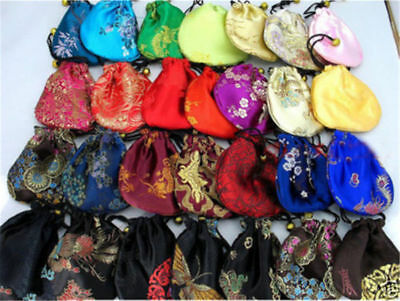 sale 5 pcs Chinese Handmade Classic Silk Jewellery Pouch/Coin Purse Gift Bag