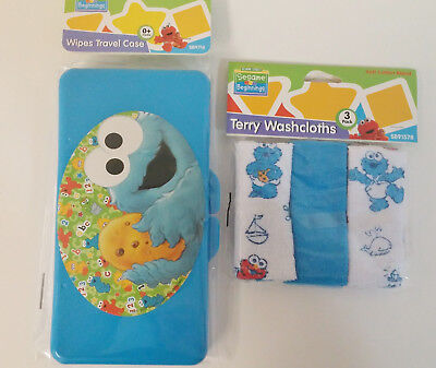 Cookie Monster Baby Wipe Case and Washcloth Set