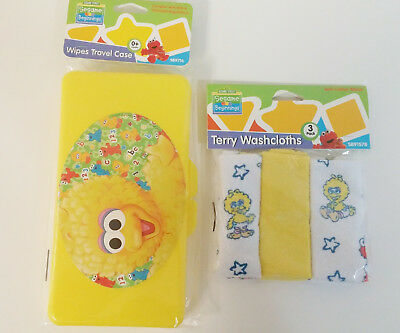 Big Bird Baby Wipe Case and Washcloth Set
