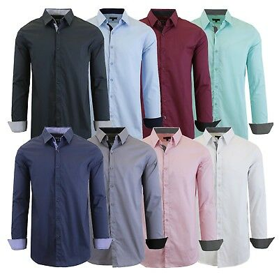 Mens Long Sleeve Dress Shirts 100% Cotton Slim Fit Colors Work Casual Button NEW