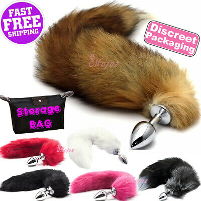 b660fba62e2 Stainless Steel ANAL BUTT PLUG Faux Fur Fox Cat Tail Metal Sex Toy White  Pink