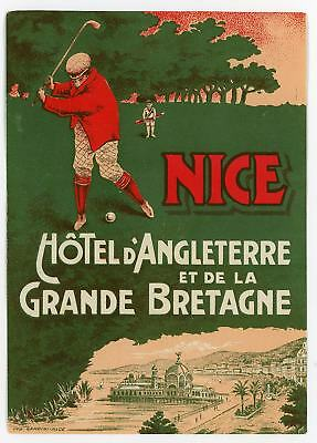 Hotel d'Angleterre Grande Bretagne NICE FRANCE Hotel LUGGAGE Label 1910 rare