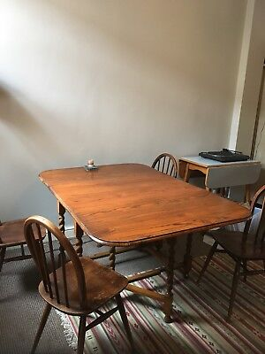 Antique vintage rustic barley twist drop leaf solid oak gateleg dining table
