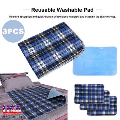 3 x Reusable Washable PVC Waterproof Layer Bed Underpad Pad Heavy Duty 45 * 60