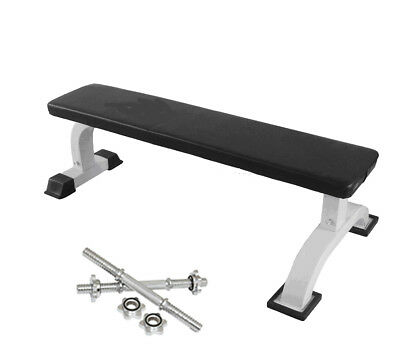 """Deluxe Flat Bench, Dumbbell Weight Lifting Utility Bench + 2x16"""" Dumbbell Bars"""