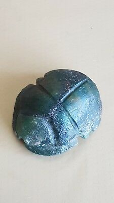 Egyptian Green Hardstone Heart Scarab Middle/new Kingdom/late Period 2Nd-1St Mil