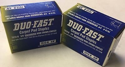 "Lot of 10,000 (2 Boxes of 5,000) Duo-Fast Carpet Pad 3/8"" Staples  7512-D (NIB)"