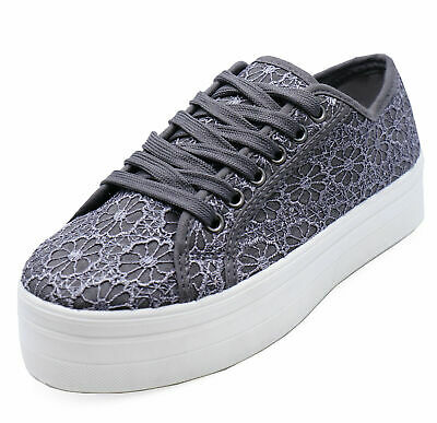 Womens Grey Lace Platform Skater Casual Wedge Pumps Trainers Shoes Sizes 4-6