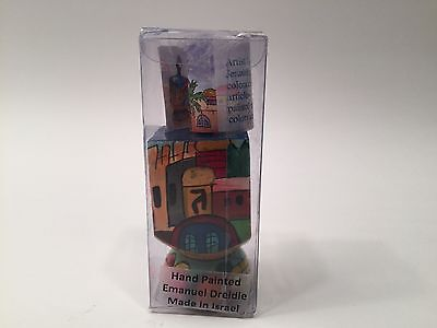 NEW Emanuel  Wooden Dreidel with Stand, Hanukkah Gift  Made In Israel DRW-100