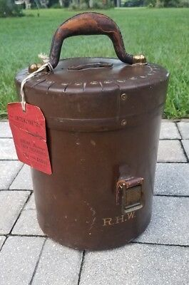 Antique leather hat box suit case train trunk travel trunk luggage victorian