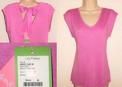 Lilly Pulitzer Grady Sweater M 8 10 NEW Knit Top Pink Purple Open Back $118 NWT