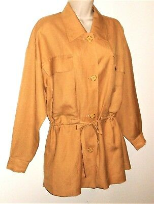 Linen Safari Jacket Vtg Blazer Womens M 10 12 Lagenlook Oversized Maize