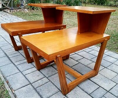 2 Vintage Lane Brutalist End Table Tier Solid Wood Retro Danish Mid Century