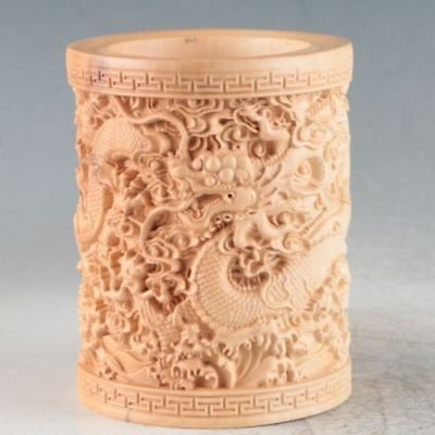 Collectible Handmade Carving wood Boxwood Brush Pot Statue Dragon