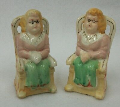 Vintage Japan Grannies in Rocking Chairs Small Salt and Pepper Shakers