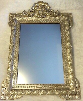 Large French Gold Silver Gilt Mantle Mirror Napoleon III 19th Century