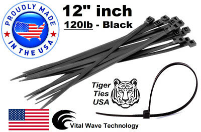 "200 Black 12"" inch Wire Cable Zip Ties Nylon Tie Wraps 120lb USA Made Tiger Ties"