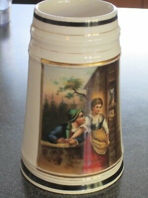 German Beer Stein with Image of a Man on the Inside Bottom