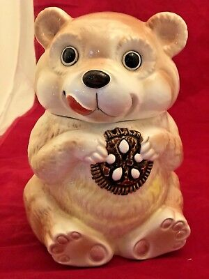 "Vintage 1950's GG Japan bear / chipmunk  eating "" Oreo "" cookie cookie jar MINT"
