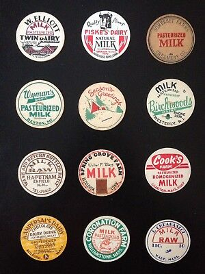 Milk Bottle Cap Lot Of (12)~All Different Dairies Named (#2)