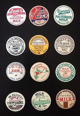 Milk Bottle Cap Lot Of (12)~All Different Dairies Named (#4)
