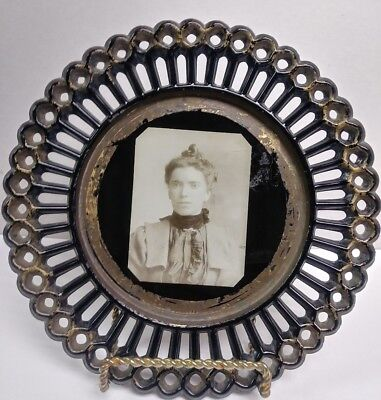 Antique Victorian Photo in cased in a Black Ribbon Style Milk Glass Plate Rare