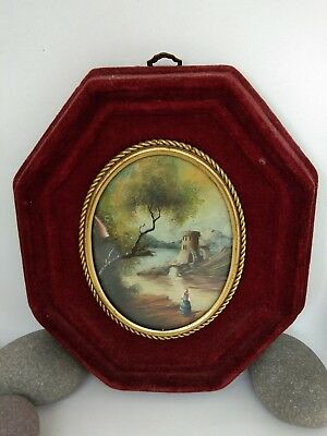 ANTIQUE 19th CENTURY MINATURE LANDSCAPE RED