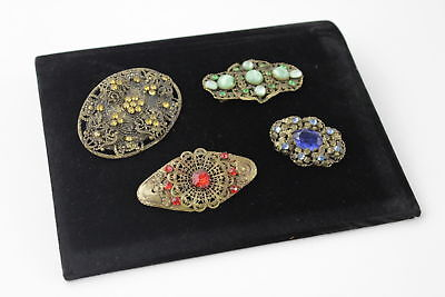 4 Stunning Antique Deco CZECH FILIGREE BROOCHES Stone Set