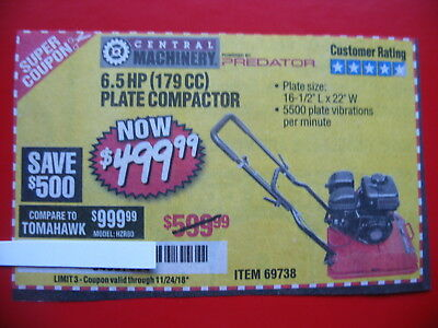 HARBOR FREIGHT*********BUY AD*******TO SAVE $500 for 6.5 hp plate compactor