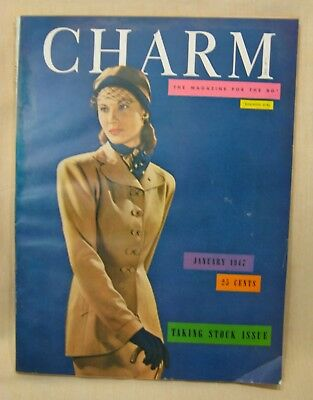 CHARM Jan. 1947, Magazine for the Business Girl, Fashions for Working Women