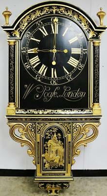 Rare Huge Antique 18thc Month Duration Chinoiserie Tavern Drop Trunk Wall Clock