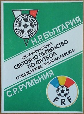 1988 Bulgaria - Romania, World Cup 1990 Qualifiers Programm