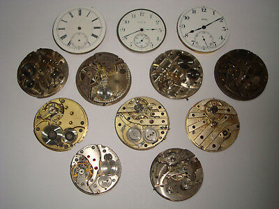 Job Lot of Vintage Antique Pocket Watch, Movements for Spares or Repairs No2