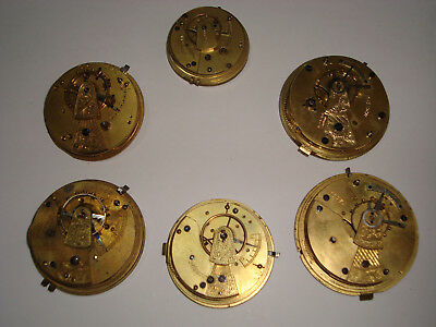Job Lot of Vintage Antique FUSEE Pocket Watch, Movements for Spares or Repairs