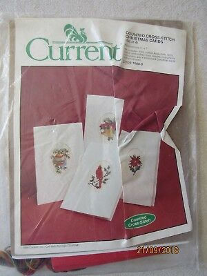 current counted cross stitch christmas cards set 4 kit cardinal bell ornament ni - Current Christmas Cards