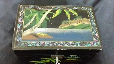 Antique Hand Painted Black Laquered jewelry /music box made in Japan