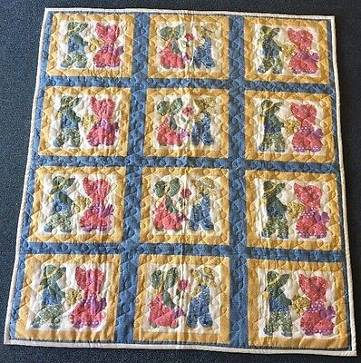 """Baby Quilt Blanket Throw Cover Handmade Unused 45""""x49"""" Machine Quilted"""