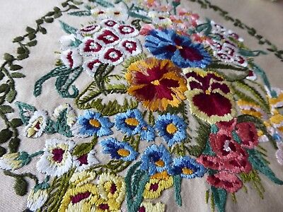 Vintage Hand Embroidered Picture Panel- Stunning Bouquet Of Assorted Flowers