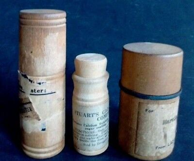 Antique PILL MEDICINE Pharmacy WOODEN BOTTLES VIAL Apothecary CHEMIST Newport NH