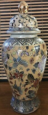 Ginger Jar with Finial Lid Top Floral Design with Butterflies