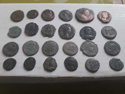 Beutiful Lot Of 24 Ancient Roman Bronze Coins Uncleaned