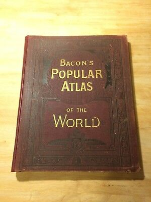 1894 Bacon's Popular Atlas of the World - 50 Double Page  Maps  + 100 Inset