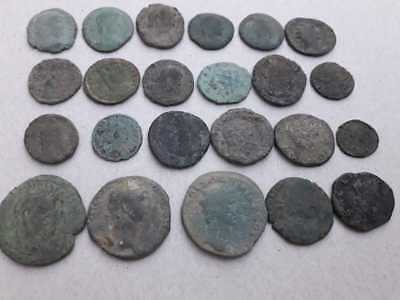 Beutiful Lot Of 23 Ancient Roman Bronze Coins Uncleaned