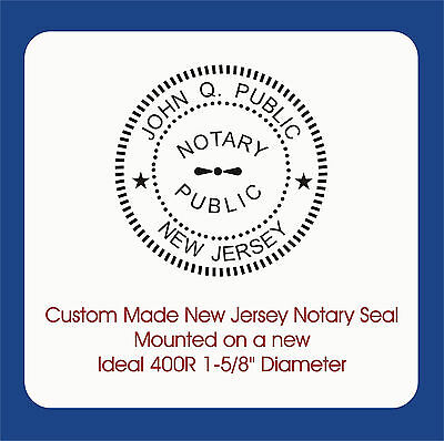 """New Jersey Notary Stamp-Custom Trodat / Ideal 400R Self Ink 1-5/8"""" Round Image"""