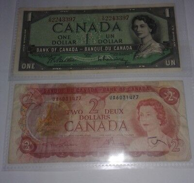 1974 & 1954 Canadian two & one dollar bill - $1 & $2 Canada note circulated