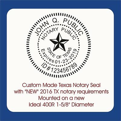Notary, Texas Round Seal-Custom Ideal / Trodat, 400R Self Inking Rubber Stamp